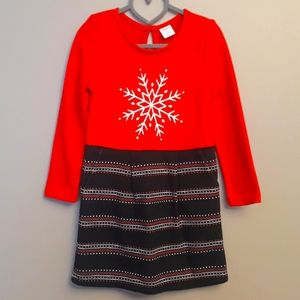 Gymboree Girls Shirt Dress Size 6 Red Snowflake